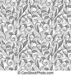 Grayscale Floral Pattern With White Dots