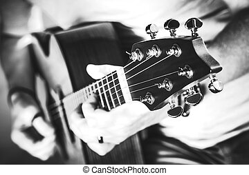 Grayscale Guitar Performance - Black and White Photography...