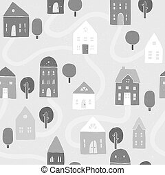 Grayscale houses pattern