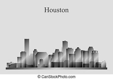 grayscale, houston γραμμή ορίζοντα , περίγραμμα , πόλη