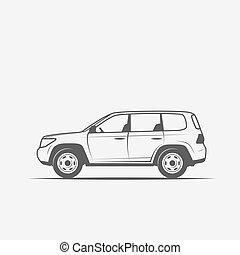 grayscale, kép, közül, a, autó