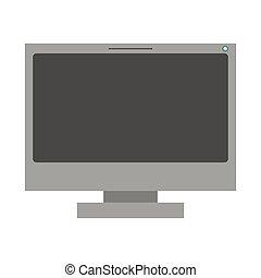 grayscale, lcd, silueta, monitor