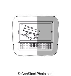 grayscale middle shadow sticker with tablet and keyboard with display with credit card in hand
