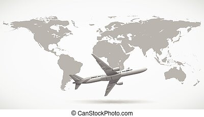 Grayscale world map illustration vector clipart search grayscale of world map and airplane gumiabroncs Image collections