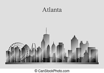 grayscale, perfil de ciudad, silueta, atlanta