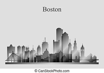 grayscale, perfil de ciudad, silueta, boston