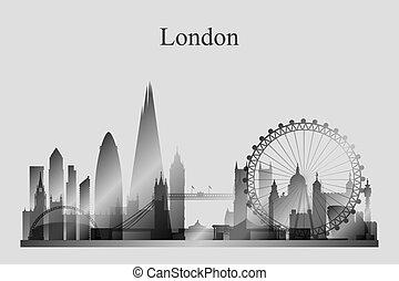 grayscale, perfil de ciudad, silueta, londres