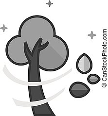 grayscale, plat, -, arbre, icône