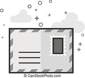 grayscale, plat, -, enveloppe, icône