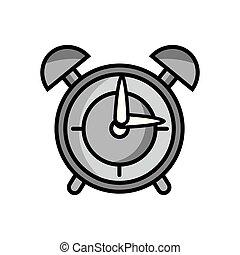 grayscale round clock alarm object design