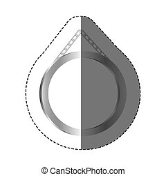 grayscale silhouette sticker with circular frame mirror with chain