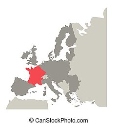 grayscale silhouette with europe map and france in red color