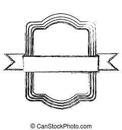 grayscale sketch of rectangular frame with ribbon in the center