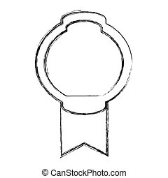 grayscale sketch of simple circular emblem with wide ribbon in the bottom side