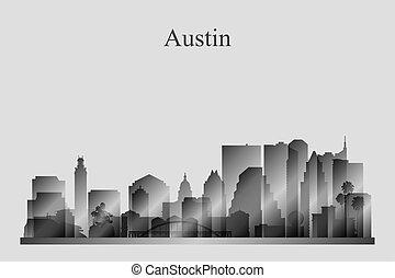 grayscale, skyline città, silhouette, austin