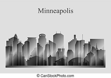 grayscale, skyline città, silhouette, minneapolis