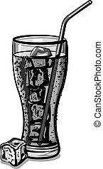 grayscale soda water