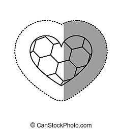 grayscale sticker of heart with texture of soccer ball
