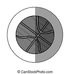 grayscale sticker with basketball ball