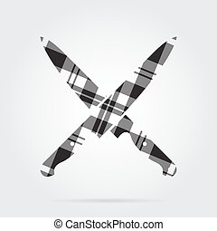 grayscale tartan isolated icon, two kitchen knives