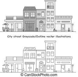 grayscale, vecteur, rue ville