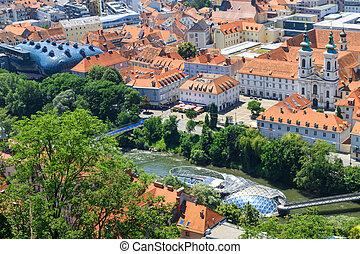 Graz, Aerial view of city center, Austria