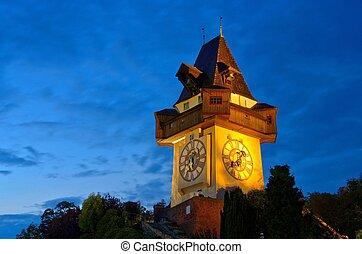 Graz clock tower by night