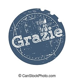 Grazie blue rubber stamp