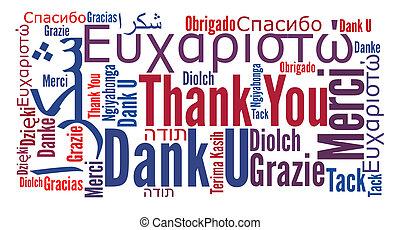 grazie, frase, in, differente, lingue