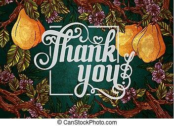 grazie, iscrizione, con, mela cotogna, frutte, e, fiori, sullo sfondo