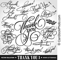 grazie, mano, iscrizione, set, vettore