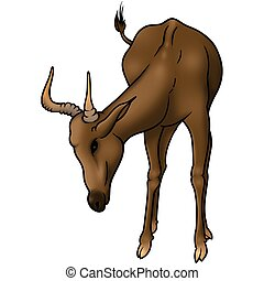 Grazing antelope - Antelope 01 - High detailed and coloured...