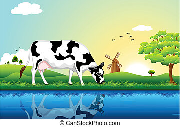 illustration of cow grazing in field with tree and windmill in background