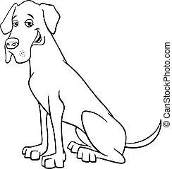 grea dane dog cartoon - Black and White Cartoon Illustration...