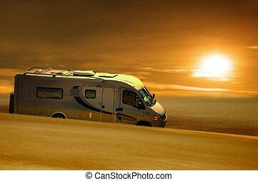 grease van in desert