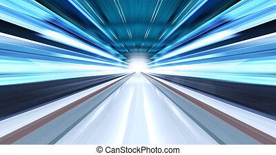 greased, luz, en, túnel