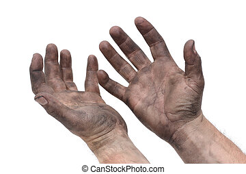 Greasy Hands - man with dirty hands