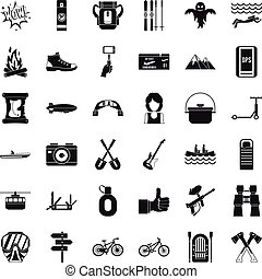 Great adventure icons set, simple style