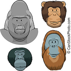 Great Ape Faces - A set of cartoon faces of the Great Apes:...