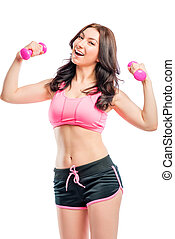 great athlete with pink dumbbells isolated
