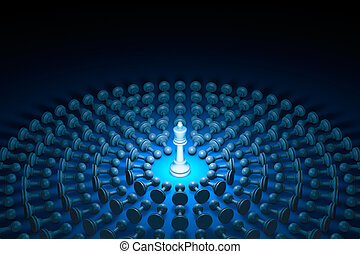 Great authority (chess metaphor). 3D rendering illustration
