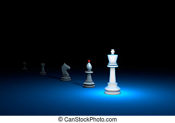 Great authority (chess metaphor). 3D render illustration. Free space for text.