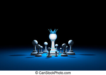 Great authority. Leader (chess metaphor). 3D render illustration. Free space for text.