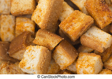 Great background of crusty white bread croutons.