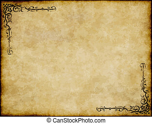 great background of old parchment paper texture with ornate ...