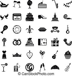 Great banquet icons set, simple style