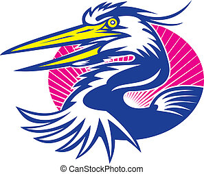 Illustration of a great blue heron head set inside oval done in retro woodcut style.