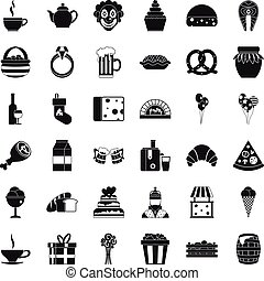 Great bounty icons set, simple style