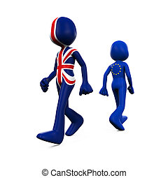 Great Britain and EU Character - 3D Character Textured With...