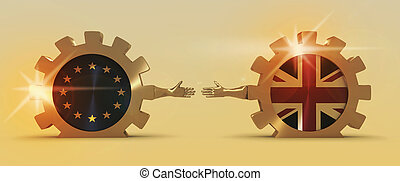 Great Britain and European Union relationships. Brexit metaphor